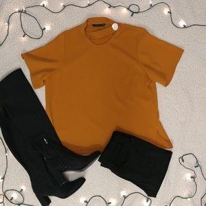 🍁 Zara Mustard Blouse Button Collar